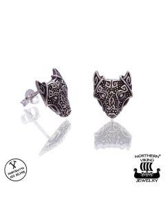 Northern Viking Jewelry Gurdian Wolf -korvakorut NVJKK028