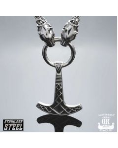 Northern Viking Jewelry Kuningasketju Sudenpäillä + Ukonvasara kaulakoru NVJRS057