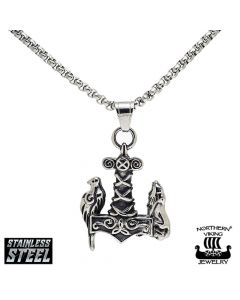 Northern Viking Jewelry Raven Wof Thor's Hammer -kaulakoru NVJRS065